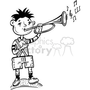 boy playing the trumpet clipart. Commercial use image # 381511