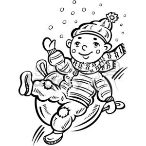 child sliding down a snow covered hill clipart. Royalty-free image # 381516
