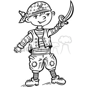 child dressed up like a pirate clipart. Royalty-free image # 381521