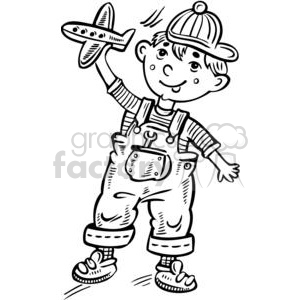 small boy playing with a toy plane clipart. Commercial use image # 381536
