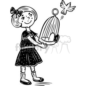 girl letting her bird fly free clipart. Commercial use image # 381551
