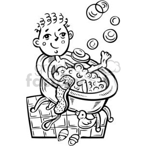 boy taking a bubble bath clipart. Commercial use image # 381556