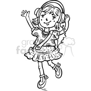 girl listening to headphones clipart. Commercial use image # 381561