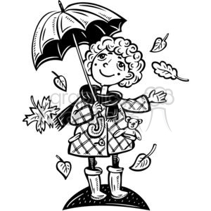 girl holding an umbrella with leaves falling clipart. Commercial use image # 381566