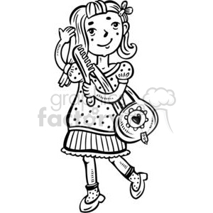 girl brushing her hair clipart. Commercial use image # 381571