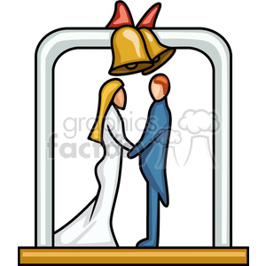 wedding couple under bells