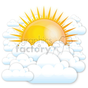 vector sun and clouds clipart. Commercial use image # 383917