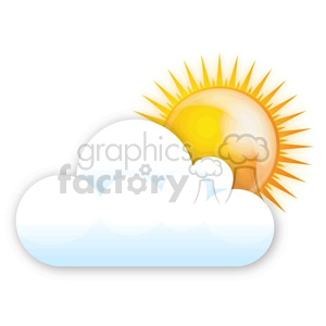 sun peeking out from behind a cloud clipart. Commercial use image # 383927