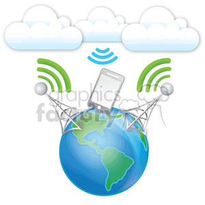 double-cell-data-transfer-from-clouds clipart. Royalty-free image # 383937