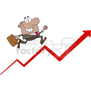 1811-African-American-Businessman-Running-Upwards-On-A-Statistics-Arrow clipart. Commercial use image # 383967