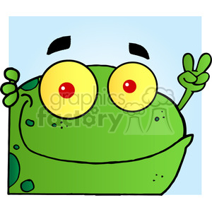 102500-Cartoon-Clipart-Frog-Gesturing-The-Peace-Sign-With-His-Hand clipart. Commercial use image # 383972