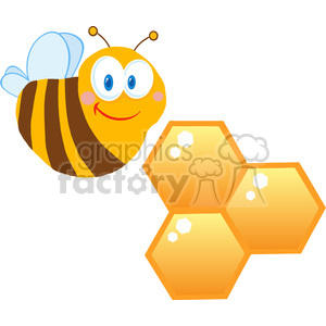 102573-Cartoon-Clipart-Cute-Bee-Cartoon-Character-With-Bee-Hives clipart. Royalty-free image # 383977