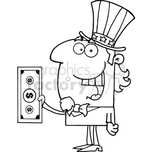 Uncle Sam Holding a Dollar Bill clipart. Royalty-free image # 383987
