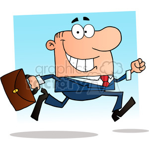 1803-Businessman-Running-To-Work-With-Briefcase clipart. Royalty-free image # 384007