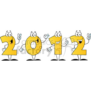 2096-2012-New-Year-Yellow-Numbers-Cartoon-Characters clipart. Commercial use image # 384012