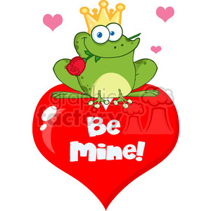 102277-Cartoon-Clipart-Frog-Prince-On-A-Red-Heart clipart. Royalty-free image # 384017