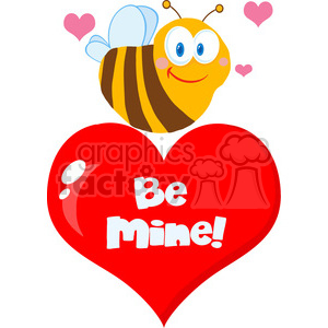 102582-Cartoon-Clipart-Cute-Bee-A-Red-Heart clipart. Royalty-free image # 384032