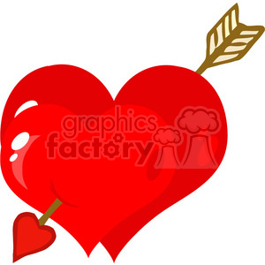 102585-Cartoon-Clipart-Perforated-Two-Heart-With-Arrow clipart. Commercial use image # 384047