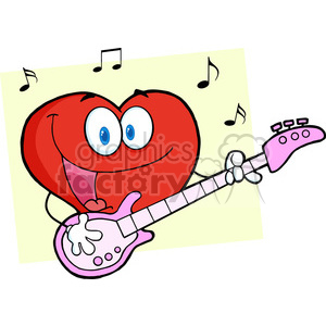 102561-Cartoon-Clipart-Romantic-Red-Heart-Man-Playing-A-Guitar-And-Singing clipart. Commercial use image # 384057