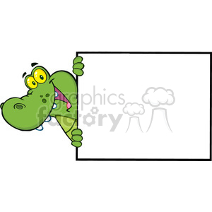 102540-Cartoon-Clipart-Happy-Crocodile-Looking-Around-A-Blank-Sign clipart. Royalty-free image # 384077