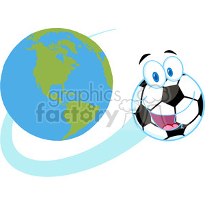 102550-Cartoon-Clipart-Cartoon-Soccer-Ball-Fly-Around-The-Globe clipart. Royalty-free image # 384082