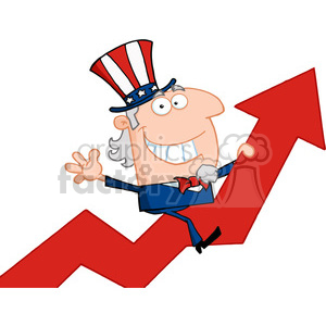 102529-Cartoon-Clipart-Uncle-Sam-Riding-Up-On-A-Statistics-Arrow clipart. Royalty-free image # 384087