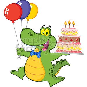 cartoon-alligator-holding-birthday-cake clipart. Commercial use image # 384187