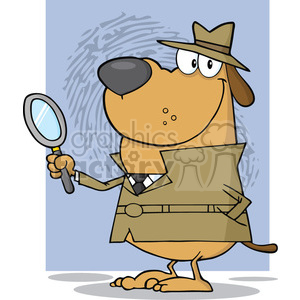 cartoon funny vector comic comical sleuth private investigator detective law police hound dog dogs search
