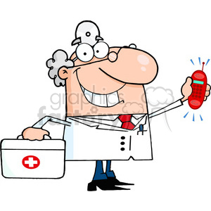 doctor-getting-a-call clipart. Royalty-free image # 384257