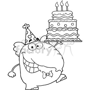 black-white-cartoon-elephant clipart. Royalty-free image # 384277