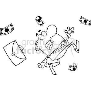 black white cartoon man falling clipart. Royalty-free image # 384292