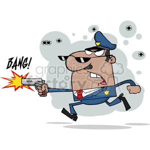 cartoon-cop-shooting clipart. Commercial use image # 384297