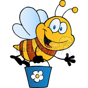 cartoon-bee-holding-a-bucket clipart. Royalty-free image # 384300