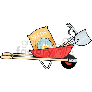 Red Barrow With Seeds A Rake And Shovel clipart. Commercial use image # 384400