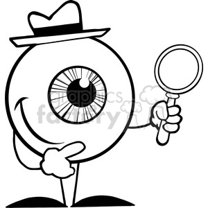 Royalty-Free-RF-Copyright-Safe-Smiling-Detective-Eyeball-Holding-A-Magnifying-Glass clipart. Royalty-free image # 384410