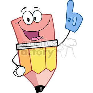 4766-Royalty-Free-RF-Copyright-Safe-Pencil-Guy-Wearing-A-Number-One-Glove clipart. Royalty-free image # 384435