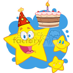 Royalty-Free-RF-Copyright-Safe-Happy-Star-Holding-A-Birthday-Cake-With-Little-Two-Stars clipart. Commercial use image # 384480