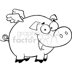 cartoon funny silly drawing draw illustration comical comics black white pig animal flying