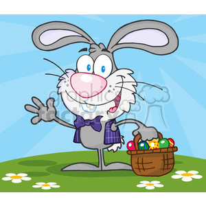 4734-Royalty-Free-RF-Copyright-Safe-Waving-Gray-Bunny-With-Easter-Eggs-And-Basket clipart. Royalty-free image # 384515