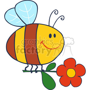 4714-Royalty-Free-RF-Copyright-Safe-Happy-Bee-Fflying-With-Flower clipart. Royalty-free image # 384520