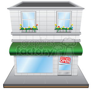 vector RG cartoon vintage retro store storefront building business stores shop shops awning