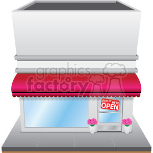 retro storefront with pink awning clipart. Commercial use image # 384659