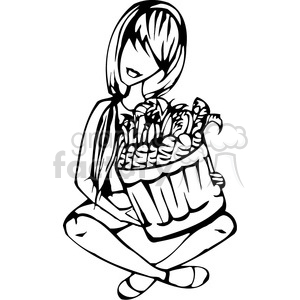 girl holding a large basket full of vegetables clipart. Commercial use image # 384739