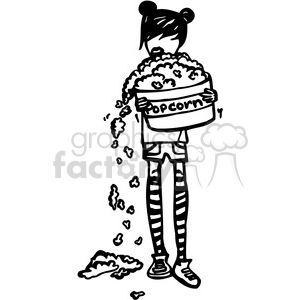 girl holding a huge bowl of popcorn clipart. Commercial use image # 384774