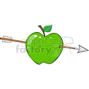 12936 RF Clipart Illustration Arrow Through Green Apple clipart. Royalty-free image # 385056