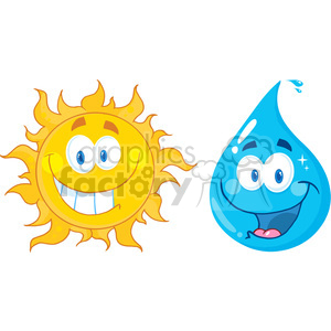 128612 RF Clipart Illustration Sun And Water  Cartoon Characters clipart. Royalty-free image # 385066