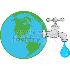 12882 RF Clipart Illustration Earth Globe With Water Faucet And Drop