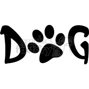 12807 RF Clipart Illustration Dog Text With Black Paw Print clipart. Commercial use image # 385096