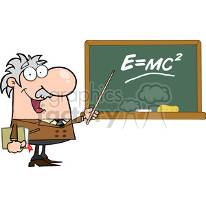 12832 RF Clipart Illustration Professor Pointing To Green Chalk Board With Einstein Formula E=mc2 clipart. Royalty-free image # 385106