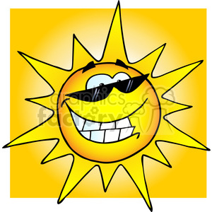 12889 RF Clipart Illustration Smiling Sun With Sunglasses clipart. Royalty-free image # 385126